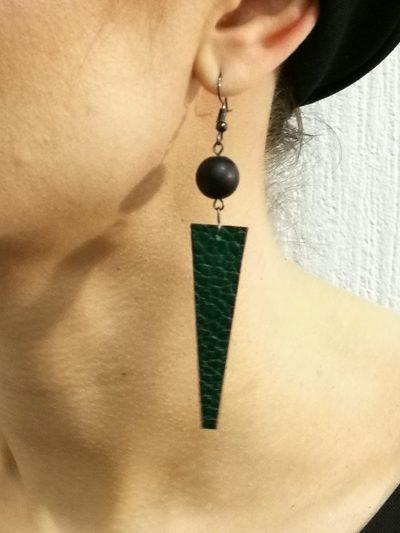 Dabīgās ādas ģeometriski auskari - liene zeiliša