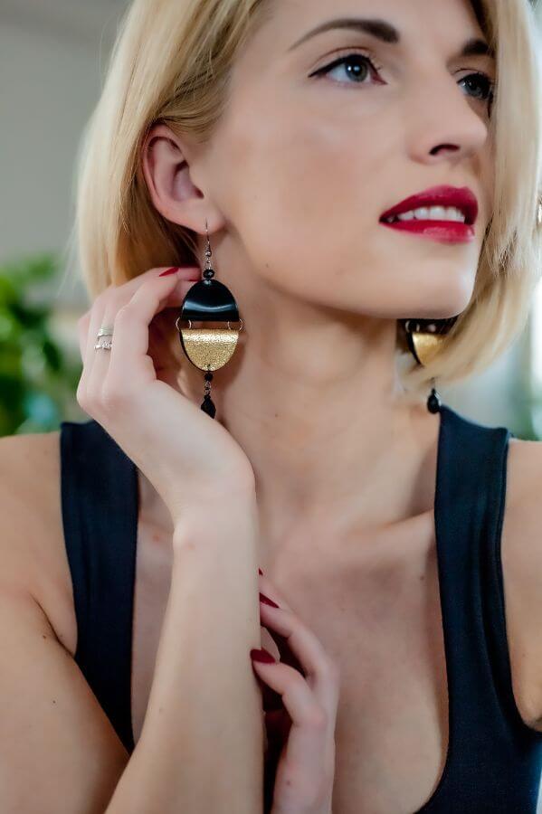 handmade from leather earrings