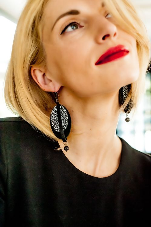 Leather earrings made in Latvia