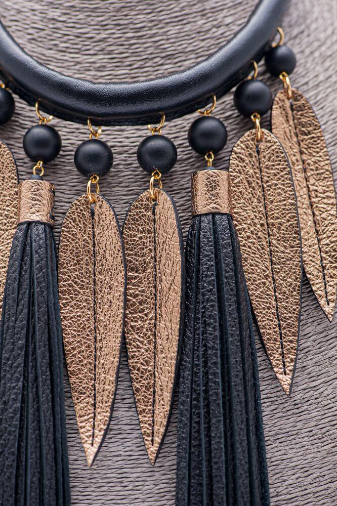 handade leather necklace