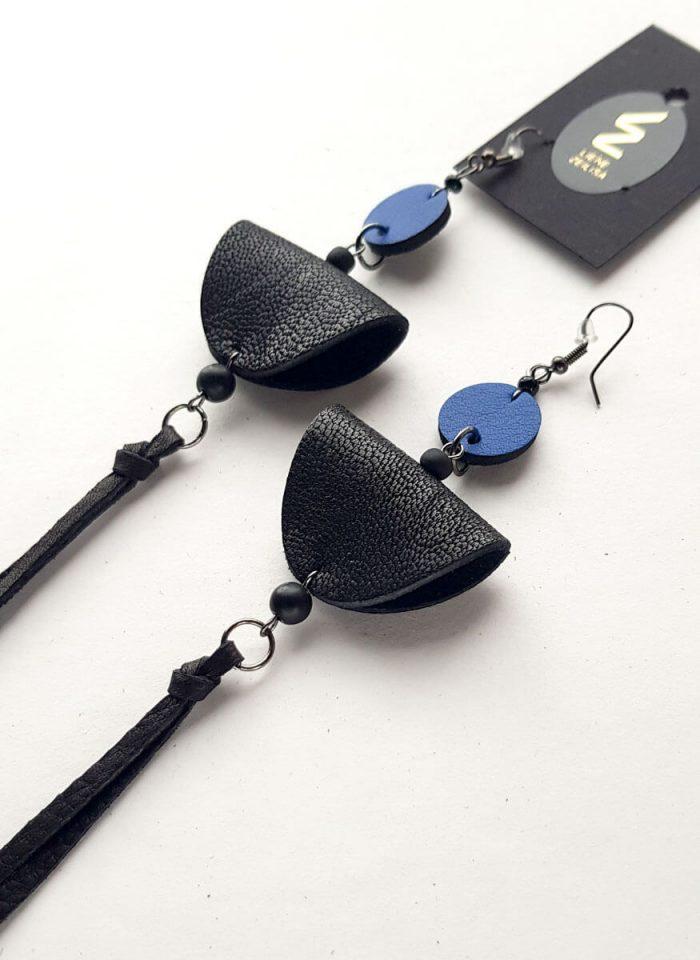 pusaplu auskari ar skaram melns zils