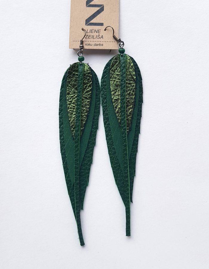 zaļi lapu auskari M