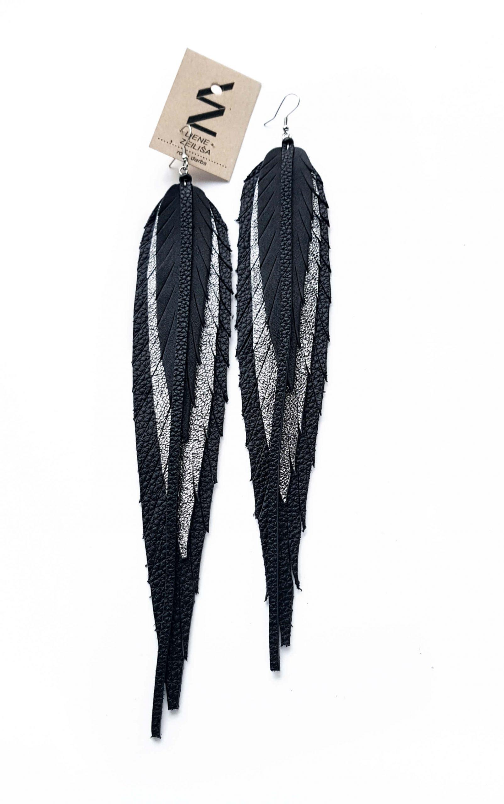 lapu auskari XL melns & sudrabs