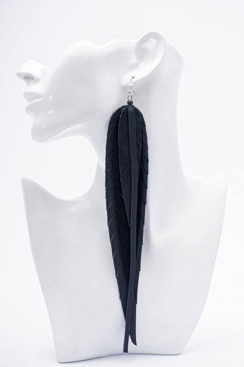 melni lapu auskari XL
